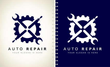 Auto repair logo vector. Wrench and screwdriver in gear logo vector. Ilustracja