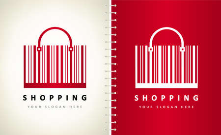 Bag barcode logo vector. Shopping symbol.