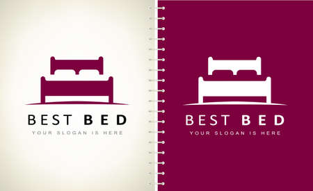 bed with pillows logo vector design. Ilustracja