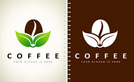 Coffee bean and leaf logo vector. Logo design vector illustration. Ilustracja
