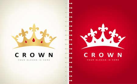Crown with rubies logo vector. Jewel logo design.