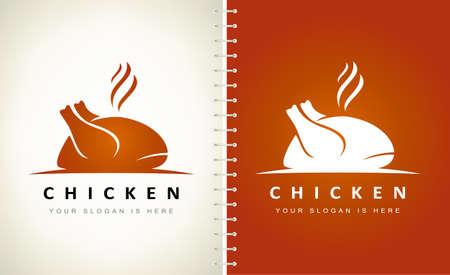 roast chicken logo vector. Hen bird meat logo.