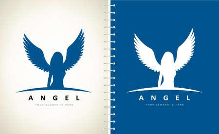 Angel woman logo vector. Design illustration.