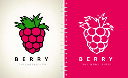 Raspberries logo vector. Berry logo design.