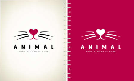 Animal logo. Nose and whiskers vector. Pet muzzle.