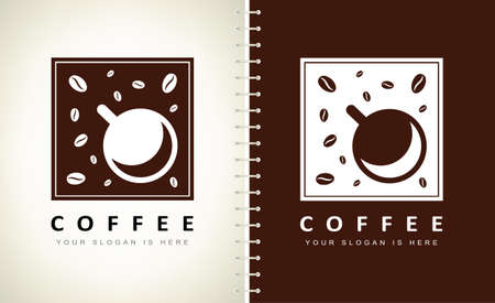 Coffee bean and cup logo vector. Cup logo design vector illustration. Ilustracja