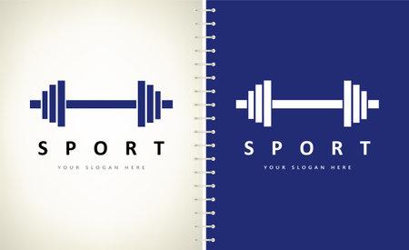 Barbell logo vector. Sport illustration.
