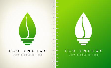ECO energy logo vector. Eco light bulb logo design.