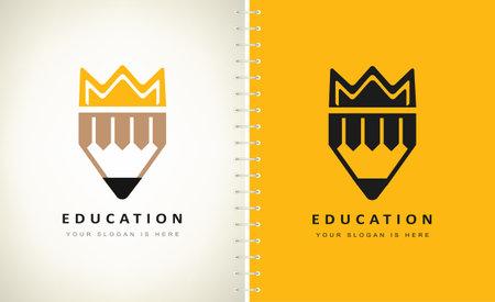 Pencil and crown logo vector. Education symbol.