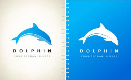 Dolphin logo vector. Underwater animal mammals.