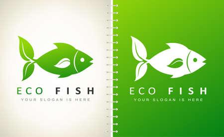 fish vector. fins leaf logo. Ilustracja
