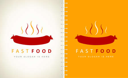 Fast food sausage logo vector. hotdog design logo.