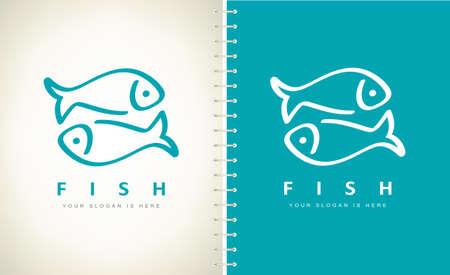 Fish logo. Underwater animals vector.