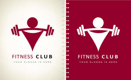 athlete with barbell logo vector design. Logo fitness club.