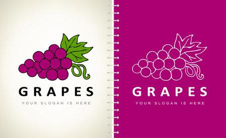 Grape logo bunch berry vector Ilustracja