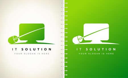 Internet technologies Solution logo vector. computer and mouse logo design.