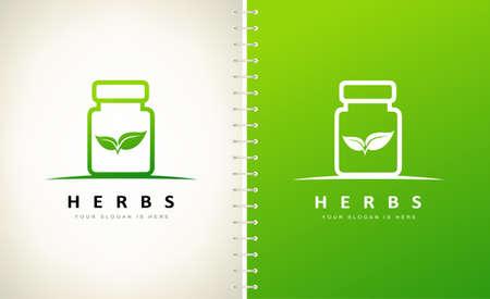 jar for tablets logo, capsules and pills. Medicine bottle design vector illustration.