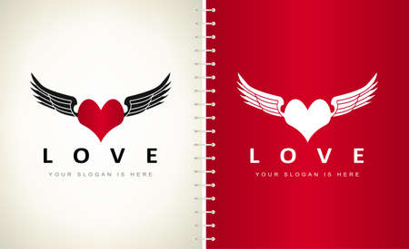 Heart and wings logo vector. Heart shape design. Symbol of love.