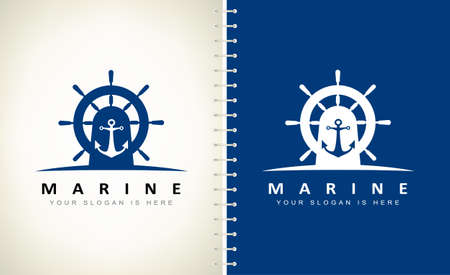 Nautical logo vector. Helm and anchor design.