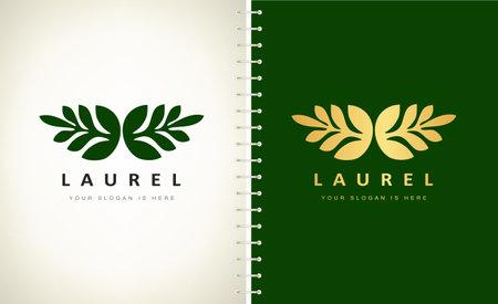 Olive wreath logo vector. Laurel. Gold Design illustration.