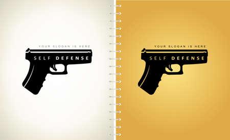 self defense logo vector. Gun silhouette. Ilustracja