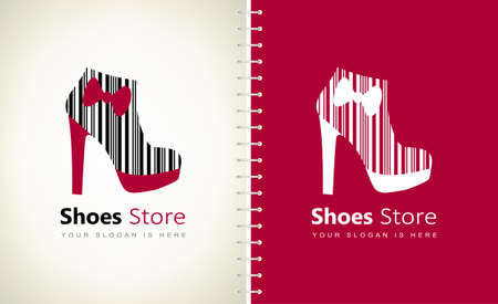 barcode shoes store logo vector. Womens ankle boots with a bow Ilustracja