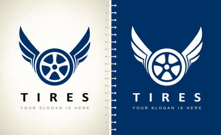 wheel and tire with wings logo vector. Ilustracja