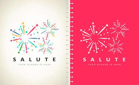 fireworks and stars logo vector design Ilustracja
