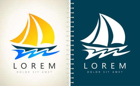 yacht logo vector ship design