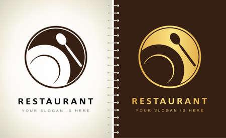 restaurant logo. Plate and spoon logo vector. Ilustracja