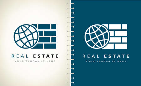 Planet and bricks. Real estate and Logo construction company.
