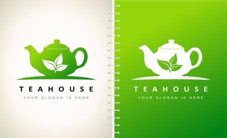 Teahouse logo design. Teapot logo vector.