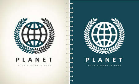planet and olive wreath logo vector.