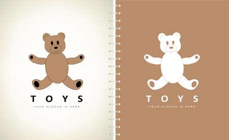 Teddy bear logo. Plush toy. Ilustracja