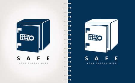 Metal safe logo vector with open door Ilustracja