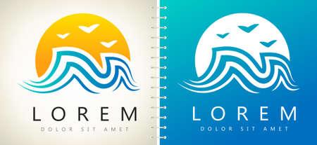 wave and sun logo design