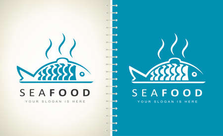 Seafood logo vector. Fresh cooked fish on a tray vector.