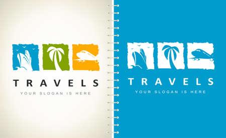 Travel agency logo vector. Logo design vector illustration. Ship, palm and plane Logo.