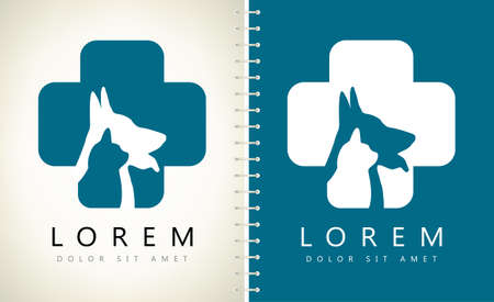 Dog and cat logo. Pet clinic design vector. Nurseries for pets. Ilustracja
