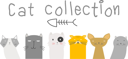 kitties: Set of cute cartoon kitties or cats with different colored fur and markings  vector illustrations Illustration