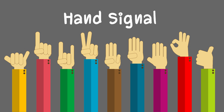 finger signals: Hand collection, different hands, signals and signs. flat-design