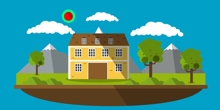 picture of a house with mountains on background, flat style Illustration