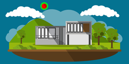 picture of a modern house with mountains on background, flat style