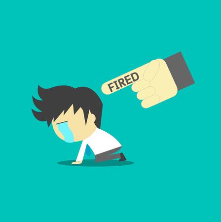 dismissed: Dismissed frustrated business man carrying Illustration