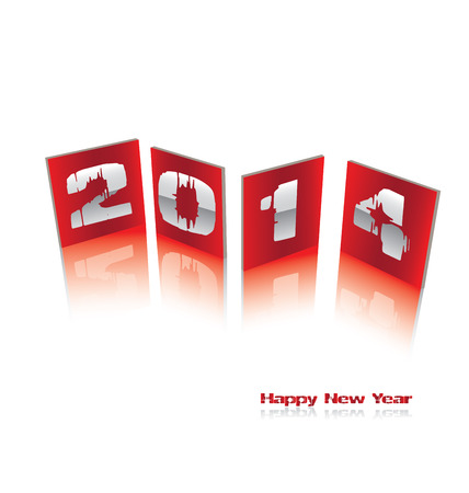Happy new year 2014   Transparency used on highlight elements  Vector