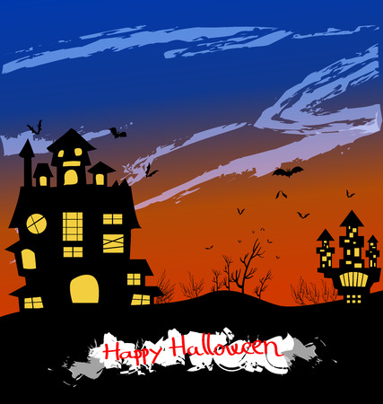 all saints day: Halloween night background with creepy castle and pumpkins