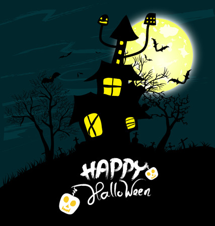 Halloween night background with creepy castle and pumpkins Vector