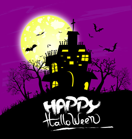 Halloween night background with creepy castle and pumpkins