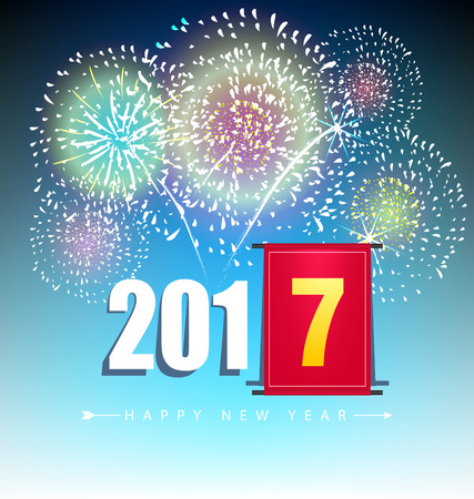 happy newyear: Happy new year  2017 holiday background design