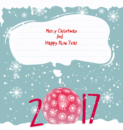 christmas concept: Happy new year 2017 and merry christmas Illustration